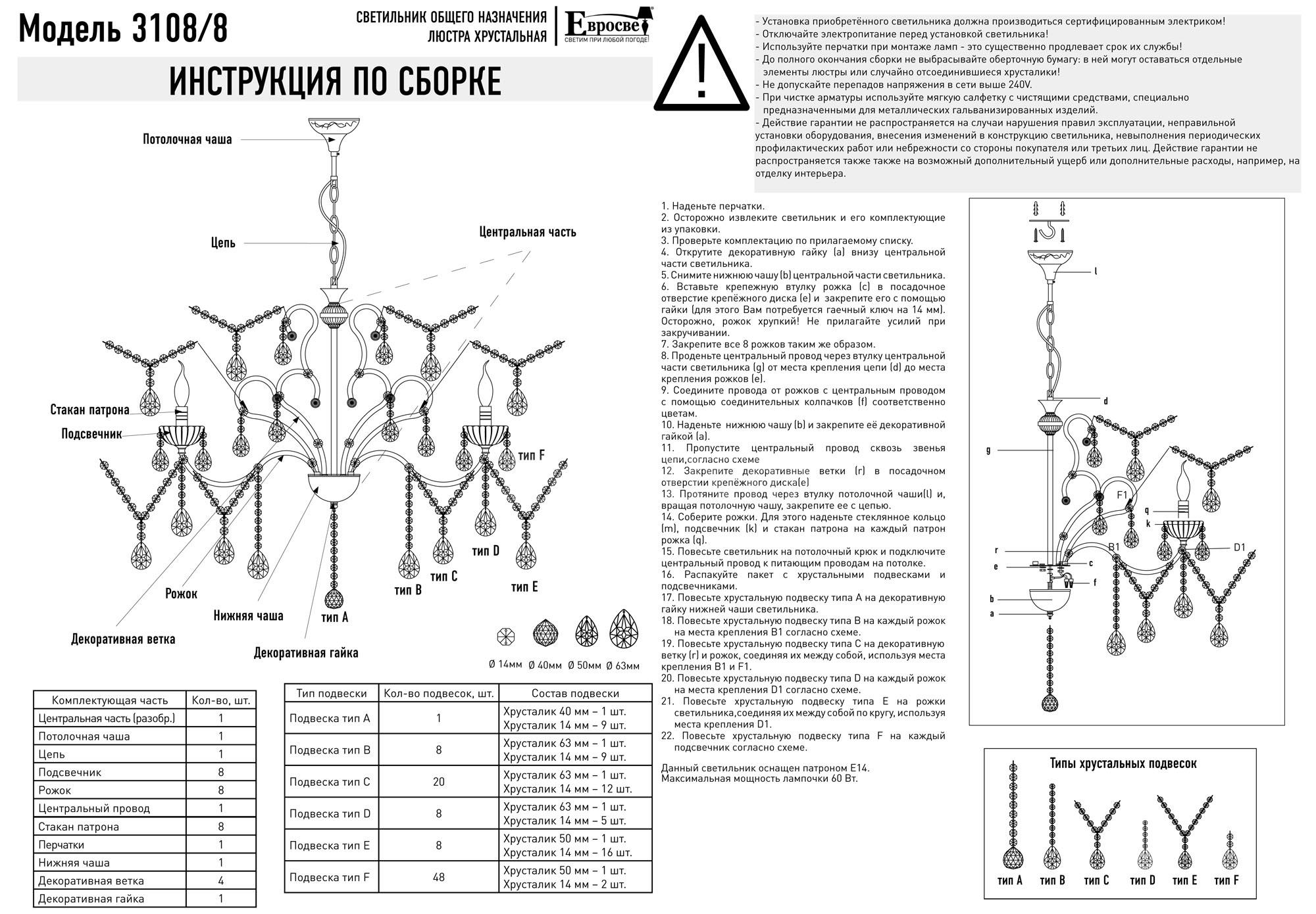 инструкция для сборки люстры евросвет
