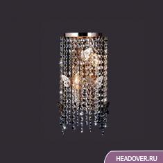 Бра каскад Евросвет 10015/2 золото/прозрачный хрусталь