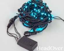 Гирлянда Нить, КРИСТАЛЛ, 10м., 100 LED, бирюзовый, контроллер, черный ПВХ провод. 05-603