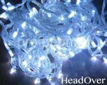 Гирлянда НИТЬ, 10м., 100 LED, холодный белый, с мерцанием, прозрачный ПВХ провод, с защитным колпачком. 05-1950