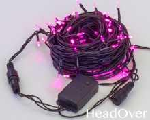 Гирлянда Нить, КРИСТАЛЛ, 10м., 100 LED, розовый, контроллер, черный ПВХ провод. 05-604