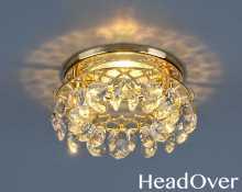 Точечный светильник с хрусталем 7070 Electrostandard зол/пр