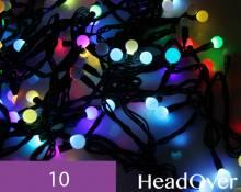 Гирлянда Нить, ШАРИКИ 1,7см., 10м., 100 LED, RGB динамика, черный ПВХ провод. 05-606