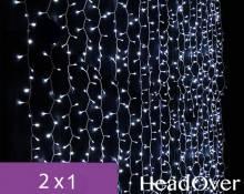 Гирлянда Занавес, 2х1м., 200 LED, ЛАЙТ, холодный белый, с мерцанием, прозрачный ПВХ провод. 05-1919