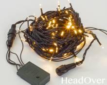 Гирлянда Нить, КРИСТАЛЛ, 10м., 100 LED, теплый белый, контроллер, черный ПВХ провод. 05-602
