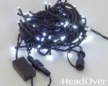 Гирлянда Нить 10м., 100 LED, холодный белый, с мерцанием, черный ПВХ провод. 05-597