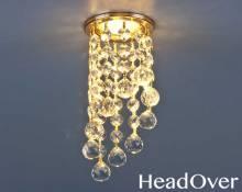 Светильник точечный с хрусталем Elektrostandard 205C C GD/WH (золото/прозрачный)
