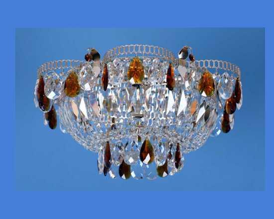 Люстра Гусь-Хрустальный Ромашка 1 лампа с зеркалом камень цветной 248401-ц