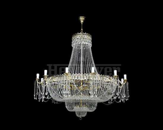 Люстра Гусь-Хрустальный Свеча высота 4 метра 483-3