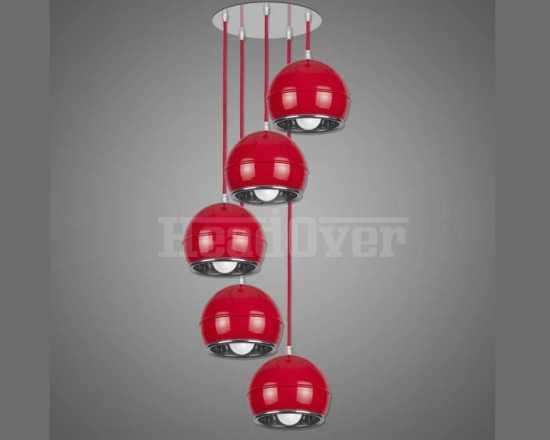 Подвесной светильник Kemar NP/5/W/R NAPO Красный, Хром